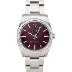 Rolex Grape Stainless Steel Oyster Perpetual 114200 Men's Wristwatch 34 MM