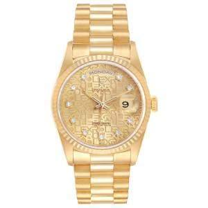 Rolex Champagne Diamonds 18K Yellow Gold President Day-Date 18238 Men's Wristwatch 36 MM