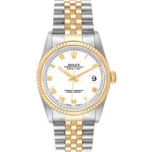 Rolex White 18K Yellow Gold and Stainless Steel Datejust 16233 Men's Wristwatch 36MM