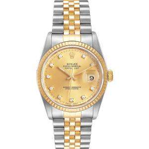 Rolex Champagne Diamonds 18K Yellow Gold And Stainless Steel Datejust 16233 Automatic Men's Wristwatch 36 MM