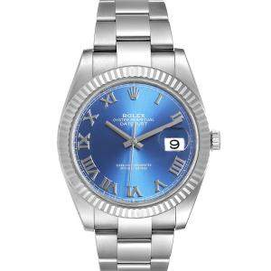 Rolex Blue 18K White Gold And Stainless Steel Datejust II 126334 Men's Wristwatch 41 MM