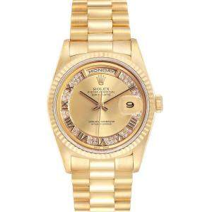Rolex Champagne Myriad Diamonds 18K Yellow Gold President Day-Date 18238 Men's Wristwatch 36 MM