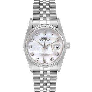 Rolex MOP 18k White Gold And Stainless Steel Datejust 16234 Men's Wristwatch 36 MM