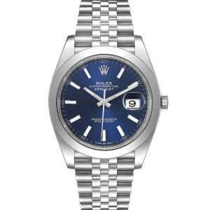 """ساعة يد رجالية رولكس """"دايتجست 126300 أوتوماتيك"""" ستانلس ستيل زرقاء 41 مم"""