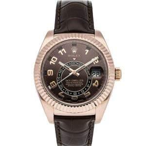 Rolex Brown 18K Rose Gold Sky-Dweller 326135 Men's Wristwatch 42 MM