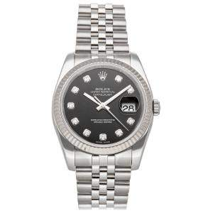 Rolex Black Diamonds 18K White Gold And Stainless Steel Datejust 116234 Men's Wristwatch 36 MM