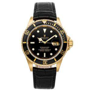 Rolex Black 18K Yellow Gold Submariner Date 16618 Men's Wristwatch 40 MM