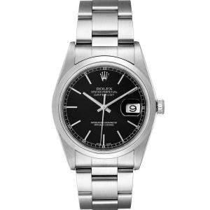 Rolex Black Stainless Steel Datejust 16200 Men's Wristwatch 36 MM