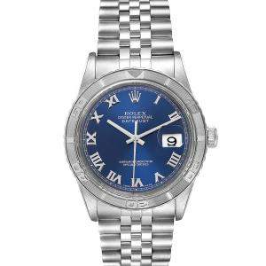 Rolex Blue 18K White Gold and Stainless Steel Turnograph Datejust 16264 Men's Wristwatch 36MM