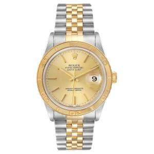 Rolex Champagne 18K Yellow Gold and Stainless Steel Datejust 16263 Men's Wristwatch 36 MM