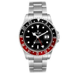 Rolex Black Stainless Steel GMT Master II 16710 Men's Wristwatch 40 MM