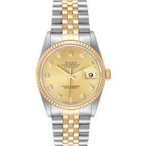 """ساعة يد رجالية رولكس """"دايتجست 16233"""" ستانلس ستيل و ذهب أصفر عيار 18 و ألماس شامبانيا 36 مم"""