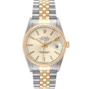 """ساعة يد رجالية رولكس """"دايتجست 16233"""" ستانلس ستيل و ذهب أصفر عيار 18 فضية 36 مم"""
