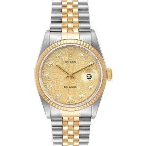 Rolex Champagne Diamonds 18K Yellow Gold And Stainless Steel Datejust 16233 Men's Wristwatch 36 MM