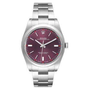 """ساعة يد رجالية رولكس """"اويستر بيربيتوال 114300"""" ستانلس ستيل أحمر عنابي 39 مم"""