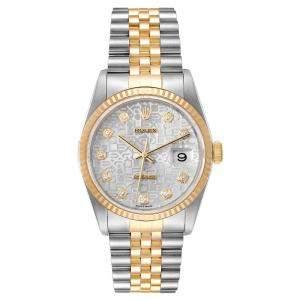 """ساعة يد رجالية رولكس """"دايتجست 16233"""" ستانلس ستيل و ذهب أصفر عيار 18 و ألماس فضية 36 مم"""