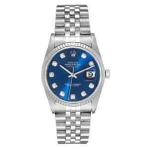 """ساعة يد رجالية رولكس """"دايتجست 16234"""" ستانلس ستيل و ذهب أبيض عيار 18 و ألماس زرقاء 36 مم"""