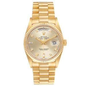 Rolex Champagne Diamonds 18k Yellow Gold President Day-Date 18038 Men's Wristwatch 36 MM