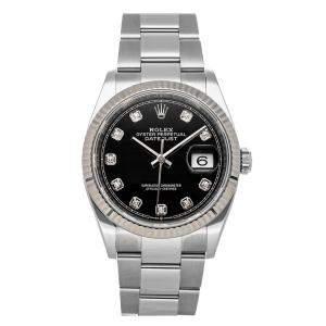 Rolex Black Diamonds Stainless Steel Datejust 126234 Men's Wristwatch 36 MM