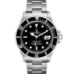 Rolex Black Stainless Steel Submariner Automatic 16610 Men's Wristwatch 40 MM
