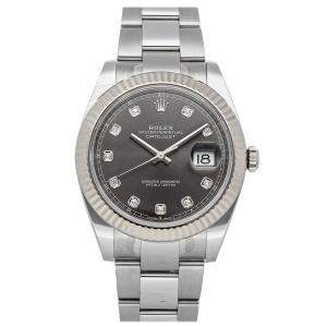 Rolex Black Diamonds 18K White Gold And Stainless Steel Datejust 126334 Men's Wristwatch 41 MM