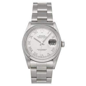 """ساعة يد رجالية رولكس """"دايتجست 16200"""" ستانلس ستيل فضية 36 مم"""