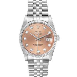 Rolex Salmon Diamonds 18K White Gold And Stainless Steel Datejust 16234 Men's Wristwatch 36 MM