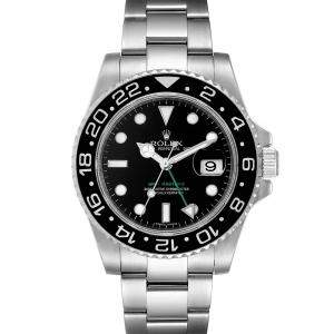 "ساعة يد رجالية رولكس ""جي أم تي ماستر 2 116710"" ستانلس ستيل سوداء 40 مم"