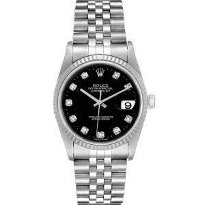 """ساعة يد رجالية رولكس """"داينجست 16234"""" ستانلس ستيل و ذهب أبيض عيار 18 و ألماس سوداء 36 مم"""