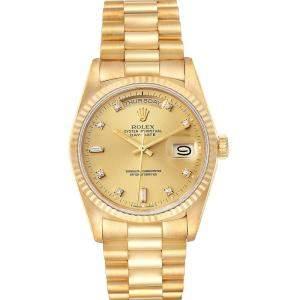 Rolex Champagne Diamonds 18K Yellow Gold President Day Date 18238 Men's Wristwatch 36 MM
