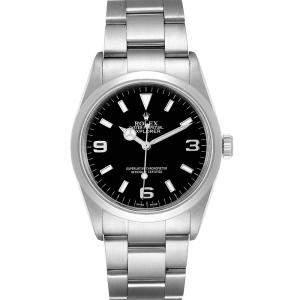 """ساعة يد رجالية رولكس """"اكسبلورير 2 114270"""" ستانلس ستيل سوداء 36 مم"""