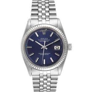 """ساعة يد رجالية رولكس """"دايتجست 1601"""" ستانلس ستيل و ذهب أبيض عيار 18 زرقاء 36 مم"""