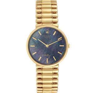 """ساعة يد رجالية رولكس """"سيليني كلاسيك 5162"""" ذهب أصفر عيار 18 و صدف زرقاء 32 مم"""