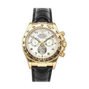 """ساعة يد رجالية رولكس """"كوزموغراف دايتونا 116518"""" ذهب أصفر عيار 18 بيضاء 40 مم"""