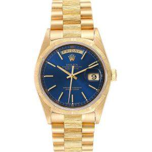 Rolex Blue 18K Yellow Gold President Day Date 18078 Men's Wristwatch 36 MM