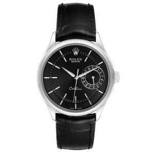 Rolex Black 18K White Gold Cellini Date Automatic 50519 Men's Wristwatch 39 MM