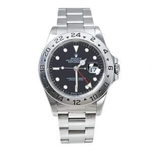 """ساعة يد رجالية رولكس """"اكسبلورور 2 16570"""" ستانلس ستيل سوداء 40 مم"""