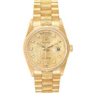 Rolex Champagne Diamonds 18K Yellow Gold President Day-Date 18248 Men's Wristwatch 36 MM