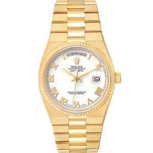Rolex White 18K Yellow Gold Oysterquartz President 19018 Men's Wristwatch 36 MM