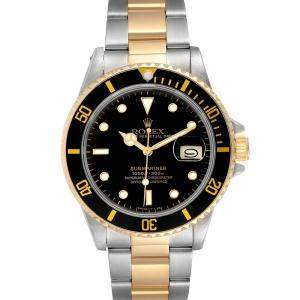 Rolex Black 18K Yellow Gold And Stainless Steel Submariner 16803 Men's Wristwatch 40 MM
