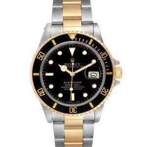 ساعة يد رجالية رولكس صب مارينر 16803 ستانلس ستيل وذهب أصفر عيار 18 سوداء 40 مم
