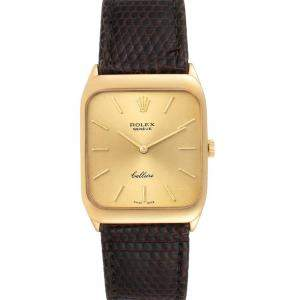 Rolex Champagne 18k Yellow Gold Cellini Vintage 4027 Men's Wristwatch 26 x 34 MM