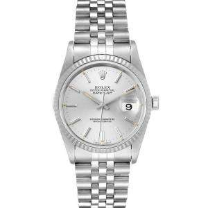 Rolex Silver 18K White Gold And Stainless Steel Datejust 16234 Automatic Men's Wristwatch 36 MM