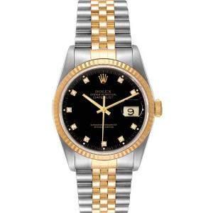 Rolex Black Diamonds 18k Yellow Gold And Stainless Steel Datejust 16233 Men's Wristwatch 36 MM