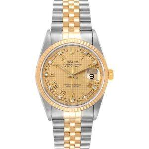 Rolex Diamonds 18K Yellow Gold And Stainless Steel Datejust 16233 Men's Wristwatch 36 MM