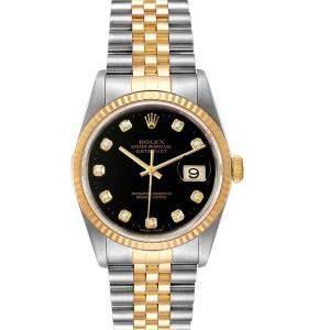 ساعة يد رولكس ديت جست 16233 ستانلس ستيل وذهب أصفر عيار 18 ألماس سوداء 36 مم