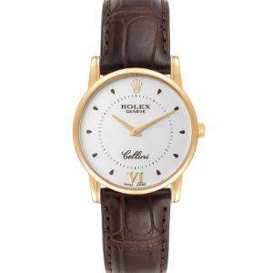 Rolex White 18K Yellow Gold and Crocodile Leather Cellini Classic 5116 Men's Wristwatch 32 MM