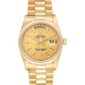 Rolex Champagne 18K Yellow Gold President Day Date 18238 Men's Wristwatch 36 MM