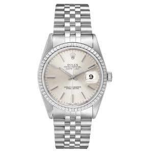 Rolex Silver Stainless Steel Datejust 16220 Men's Wristwatch 36 MM