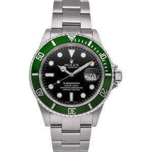 """Rolex Black Stainless Steel Submariner Date """"Kermit"""" 16610LV Men's Wristwatch 40 MM"""